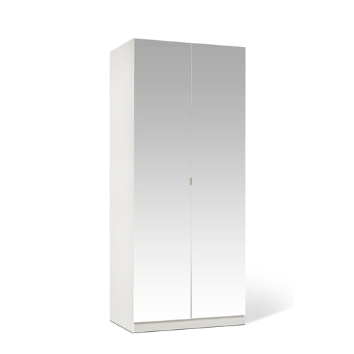 Zoe White Mirrored 2 Door Wardrobe - FurniComp