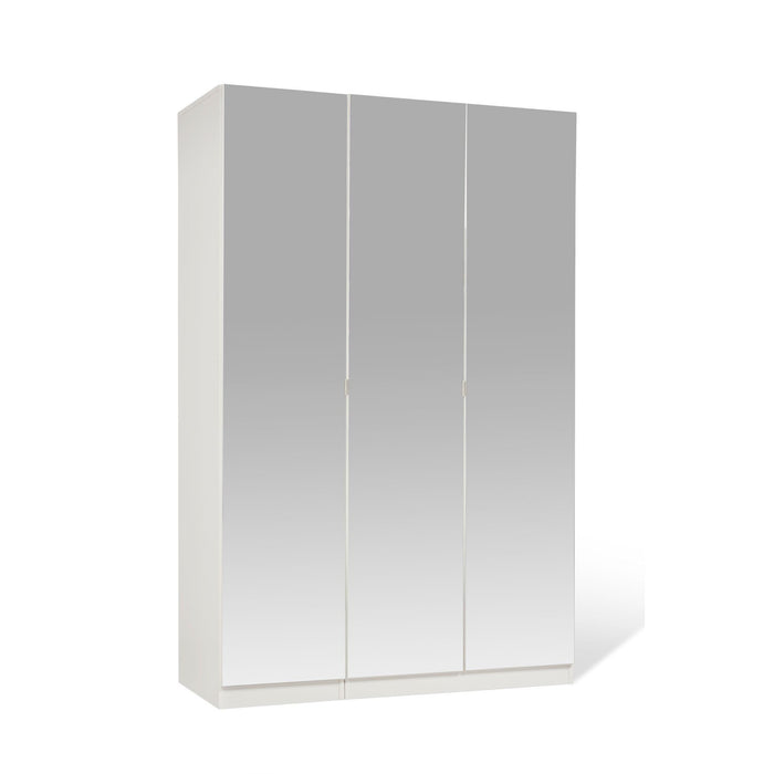 Zoe White Mirrored 3 Door Wardrobe - FurniComp