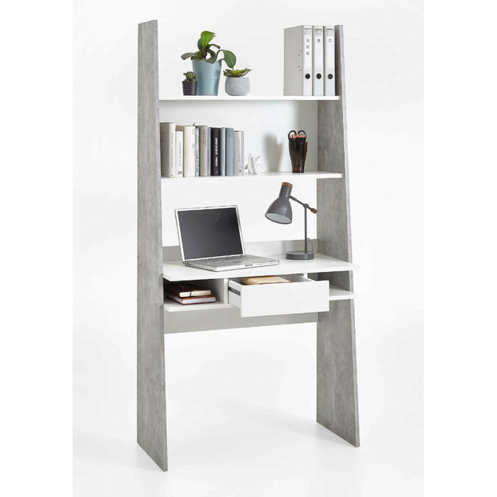 Zuri White and Grey Bookcase Home Office Desk - FurniComp
