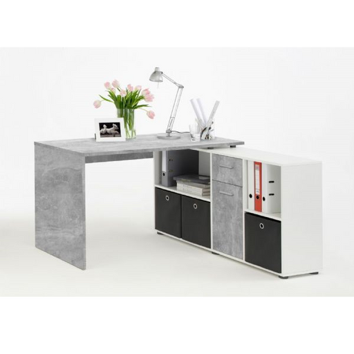 Zuri Concrete Grey and White L Shaped Corner Desk - FurniComp