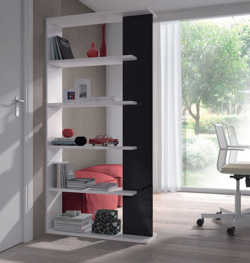 Madison Black and White Gloss Bookcase Organiser Room Divider - FurniComp