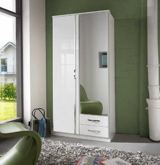 Arctic 2 Door 2 Drawer German White Gloss Bedroom Wardrobe
