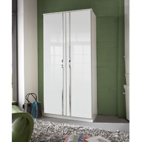 Arctic 2 Door German White Gloss Bedroom Wardrobe - FurniComp