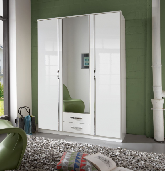 Arctic 3 Door 2 Drawer German White Gloss Bedroom Wardrobe - FurniComp