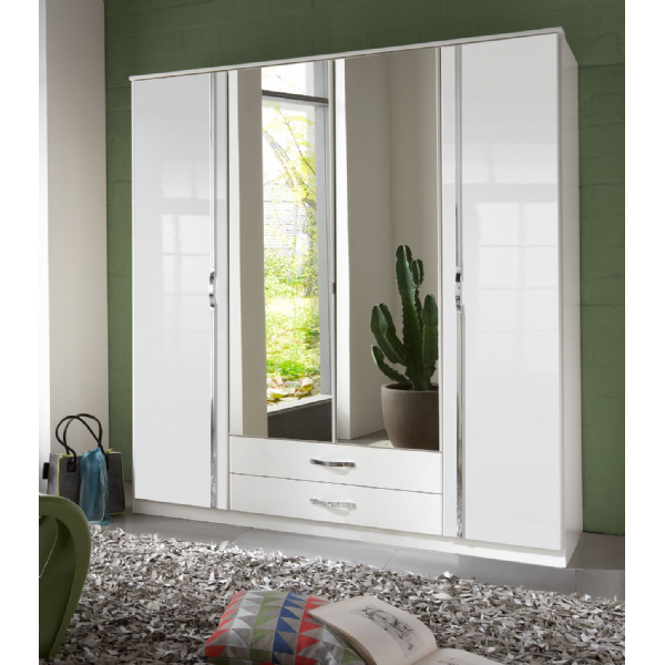 Arctic 4 Door 2 Drawer German White Gloss Bedroom Wardrobe - FurniComp