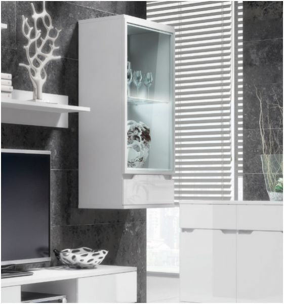 Madeira White Gloss Wall Mounted Display Cabinet Shelving Storage Unit - FurniComp