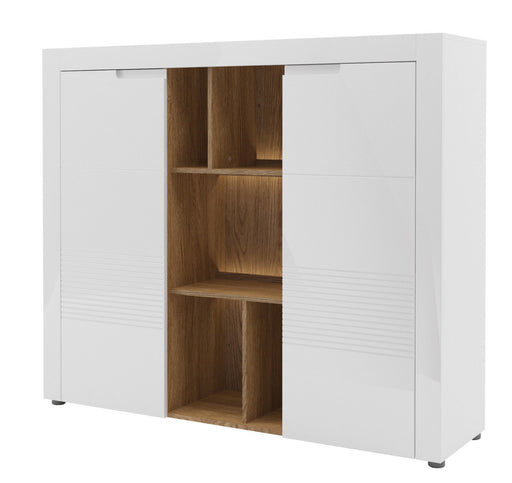 Aspire Large White Gloss Sideboard With Bookcase