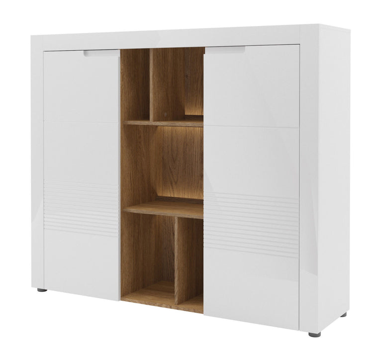 Aspire Large White Gloss Sideboard With Bookcase - FurniComp