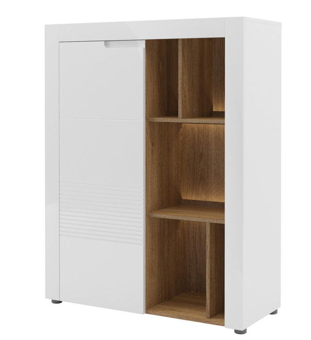 Aspire Tall White Gloss And Walnut Sideboard With Bookcase
