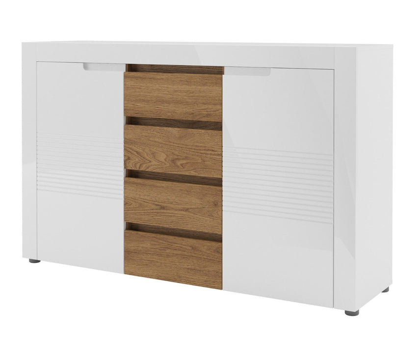 Aspire White Gloss And Walnut 2 Door 4 Drawer Sideboard - FurniComp