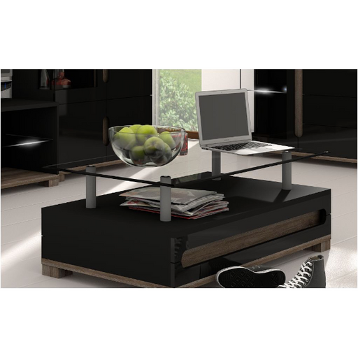 Berlin High Black Gloss With Glass Top Coffee Table