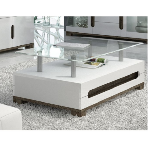 Berlin High White Gloss With Glass Top Coffee Table