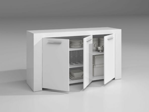 Boston Arctic Matt White Sideboard Storage Cabinet - FurniComp