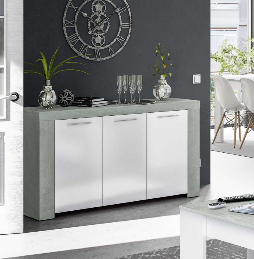 Boston Large White And Grey Sideboard
