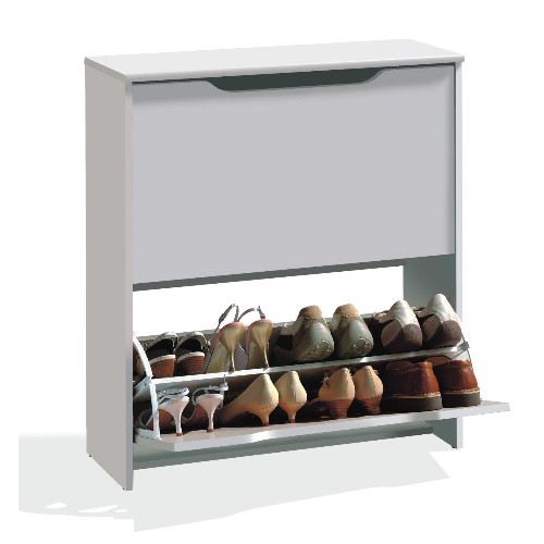 Combo White Stackable Shoe Storage Cupboard - FurniComp