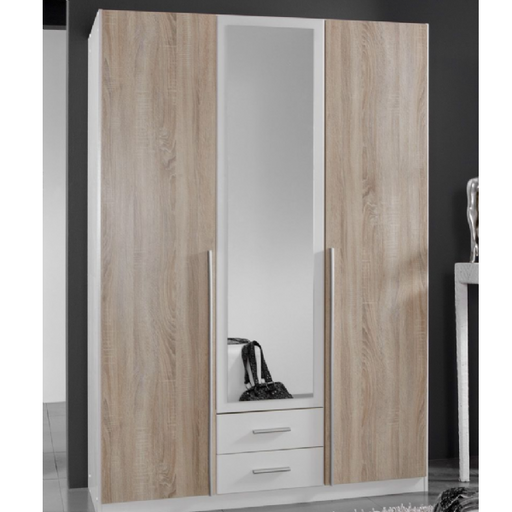 Geneva 3 Door and 2 Drawer White And Oak Effect Mirrored Wardrobe