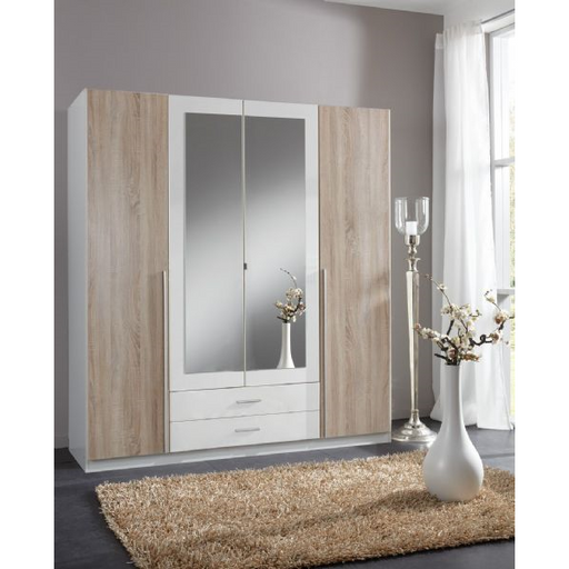Geneva 4 Door and 2 Drawer White And Oak Effect Mirrored Wardrobe