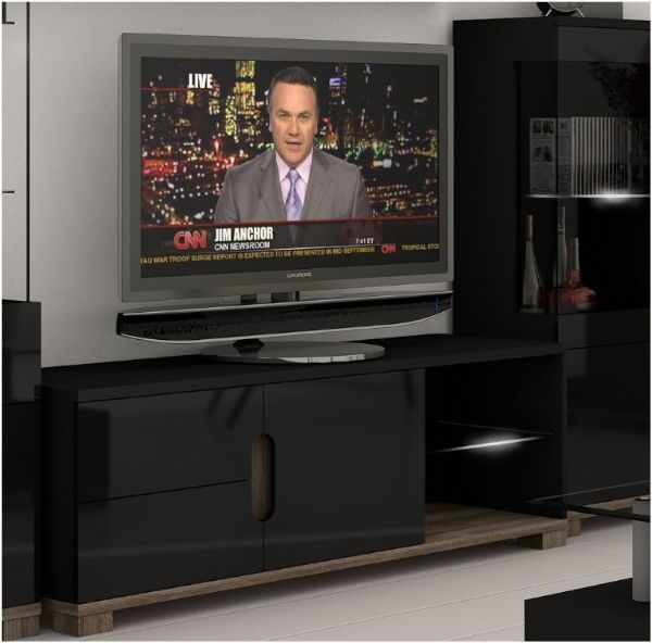 Berlin Black Gloss and Oak Effect TV and Media Unit With LED Lights - FurniComp
