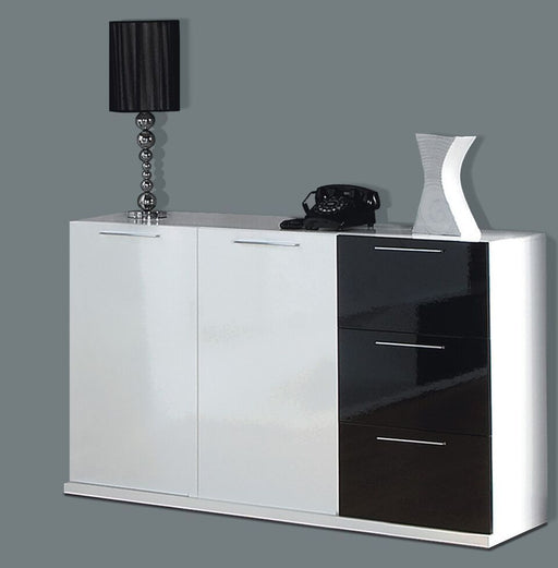 Madison White and Black Gloss Sideboard Storage Cabinet Dresser