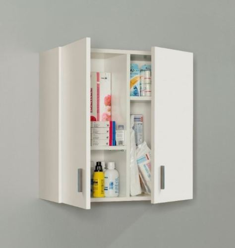 Universal Multi-Use White 2 Door Wall Mounted Storage Utility Cupboard Cabinet - FurniComp