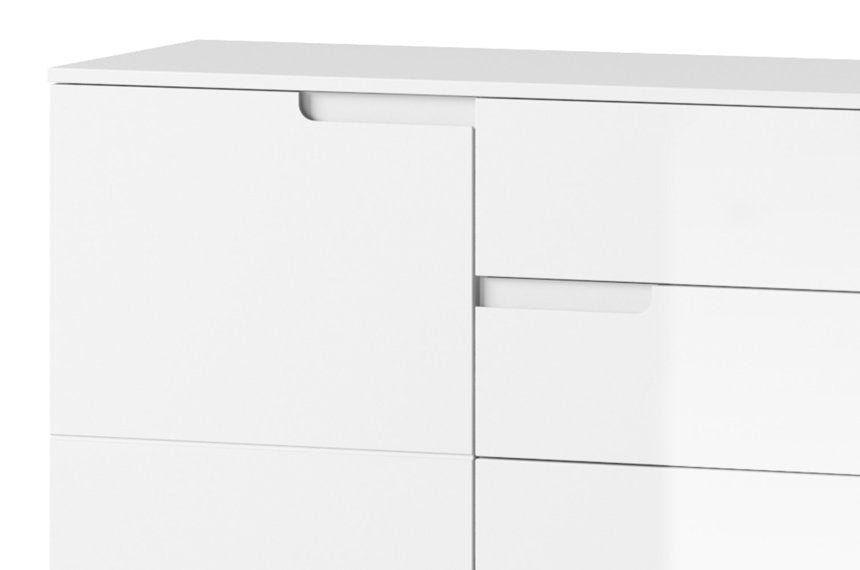 Aspen White Gloss Wide Sideboard Storage Cabinet Cupboard Unit - FurniComp