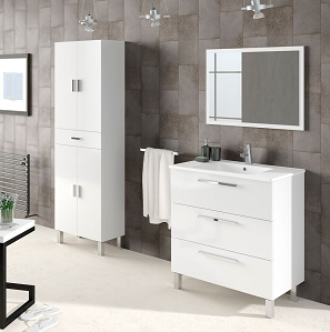 Valdo Bathroom Vanity Sink With Undersink Cupboard White Gloss Mirror Included - FurniComp