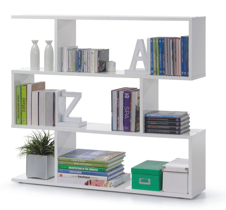 Newark Open Back Short White Gloss Bookcase Divider Organiser - FurniComp