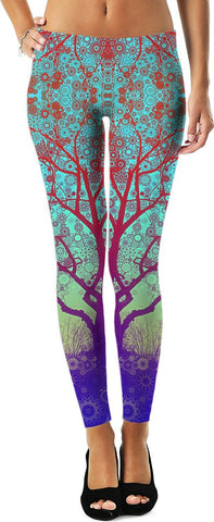 Larry Carlson 'Red Star Tree' Leggings
