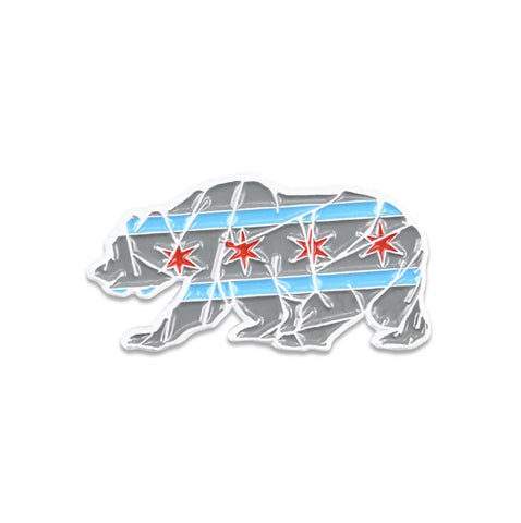 Grassroots Chicago Mosaic Bear Grey Pin