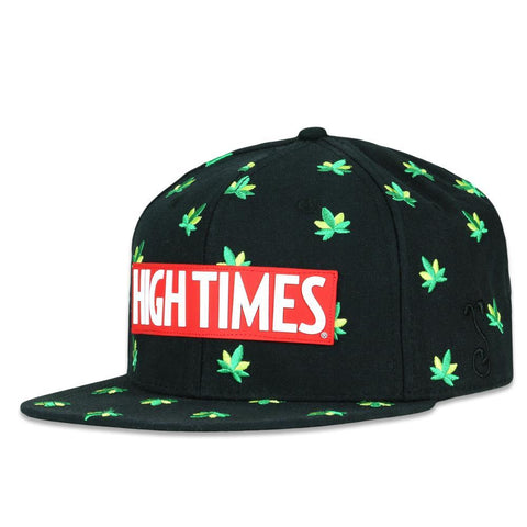 Grassroots High Times Embroidered Leaf Black Snapback