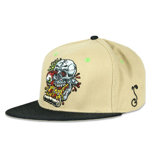 Grassroots Jimbo Phillips Pizza Skull Tan Fitted