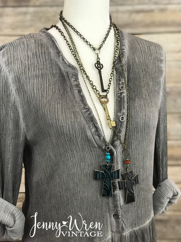 Vintage Leather Cross Necklace