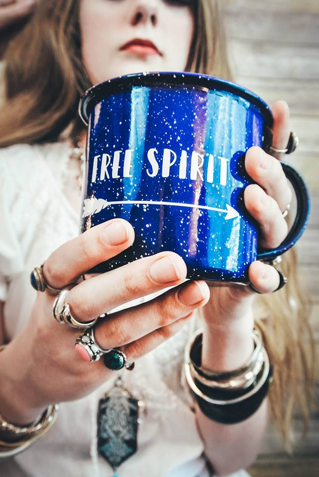 Free Spirit Enamel Mug with Decal