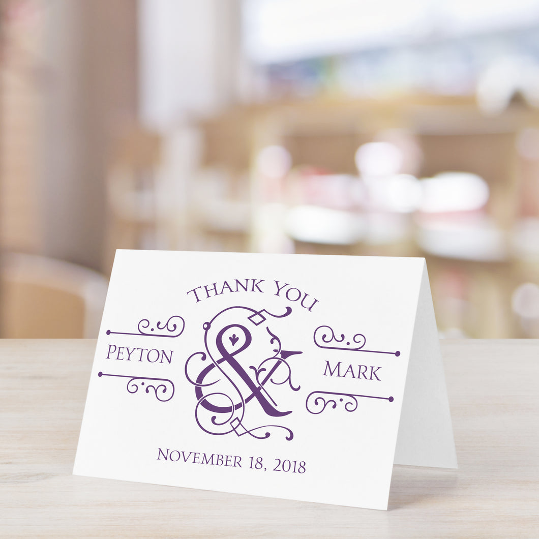 Stylish Ampersand Personalized Thank You Card