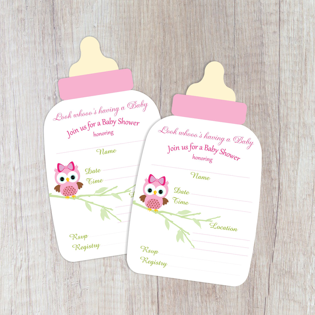 12 Baby Girl Owl Shower Bottle Invitation (Pack of 12) Baby Owlet Neutral Boy Shower DYI Invite Gender Reveal Boy or Girl