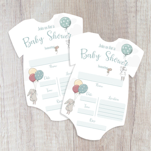 12 Baby Bunny Shower Onesie Invitation (Pack of 12) Baby Hare Flying Bunny Neutral Shower DYI Invite Gender Reveal Boy or Girl