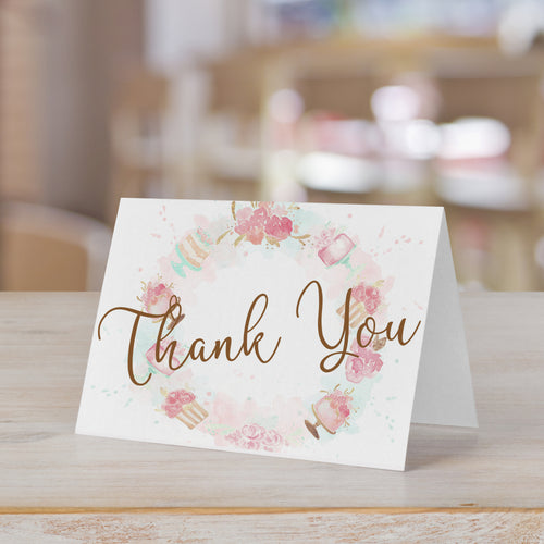 Bridal Shower Sweets Watercolor Thank You Card