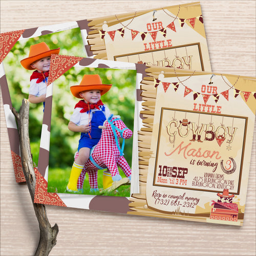Cowboy Farmer Birthday Invitation Western Theme Country Boy Invitation Digital or Print Invite Cowgirl Birthday Party Invite - Simply Fab Chic