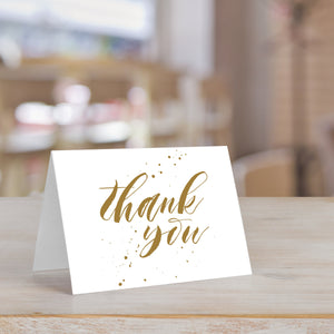 Handwritten Thank You Card with Gold Accent Splash
