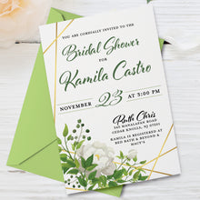Load image into Gallery viewer, Flora Greenery Watercolor Leaves Bridal Shower Invitation with White Rose Flower and Gold Accents | Wedding Invite