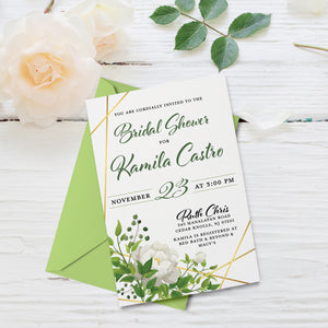 Flora Greenery Watercolor Leaves Bridal Shower Invitation with White Rose Flower and Gold Accents | Wedding Invite