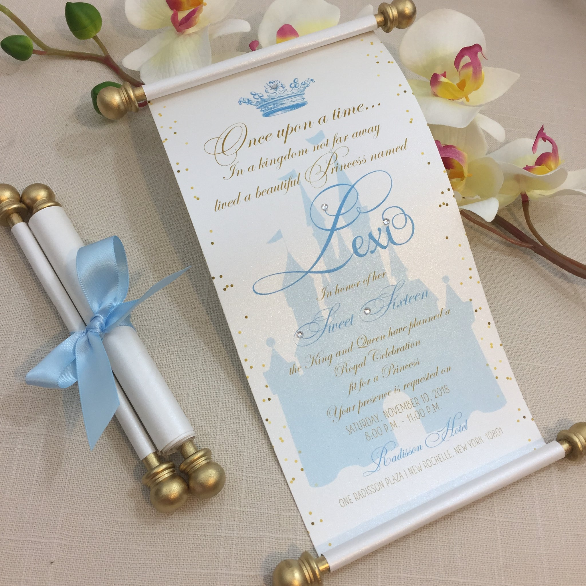 Cinderella Inspired Birthday Scroll Invitation In Blue And Gold
