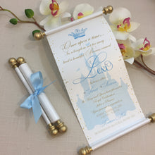 Load image into Gallery viewer, Cinderella inspired Birthday Scroll Invitation in Blue and Gold - Simply Fab Chic