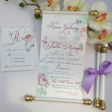 Load image into Gallery viewer, Royal Wedding Garden Butterfly Pastel Scroll Invitation in Spanish Vow Renewal Wedding Invite Convite de Casamento em Espanhol - Simply Fab Chic