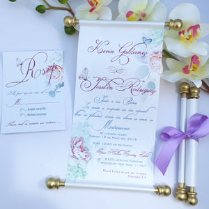 Royal Wedding Garden Butterfly Pastel Scroll Invitation in Spanish Vow Renewal Wedding Invite Convite de Casamento em Espanhol - Simply Fab Chic