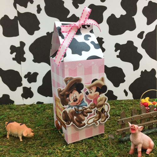 Cowboy Mickey Cowgirl Minnie Farmer Milk Carton Style Favor Boxes | Birthday Treat Box - Simply Fab Chic