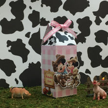 Load image into Gallery viewer, Cowboy Mickey Cowgirl Minnie Farmer Milk Carton Style Favor Boxes | Birthday Treat Box