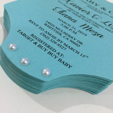 Load image into Gallery viewer, Baby & Co. Baby Shower Onesie Invitation Tiffany Inspired Invite