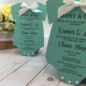 Baby & Co. Baby Shower Onesie Invitation Tiffany Inspired Invite