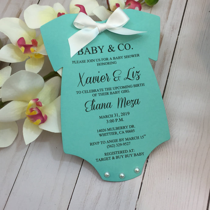 Baby & Co. Baby Shower Onesie Invitation Tiffany Inspired Invite - Simply Fab Chic